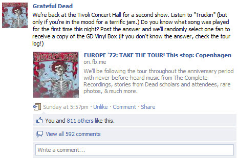 Grateful Dead Facebook wall post