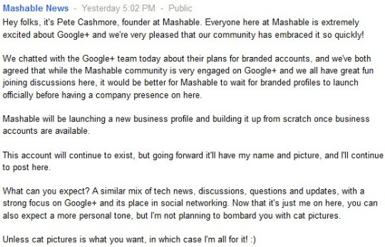 Mashable announcement on Google+