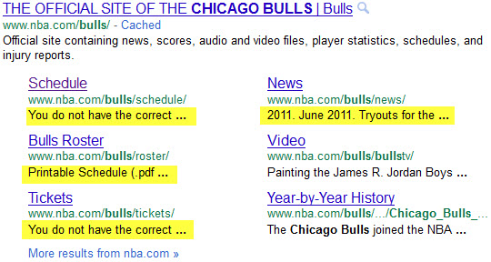 Chicago Bulls - Google expanded sitelinks