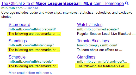 MLB - Google expanded sitelinks