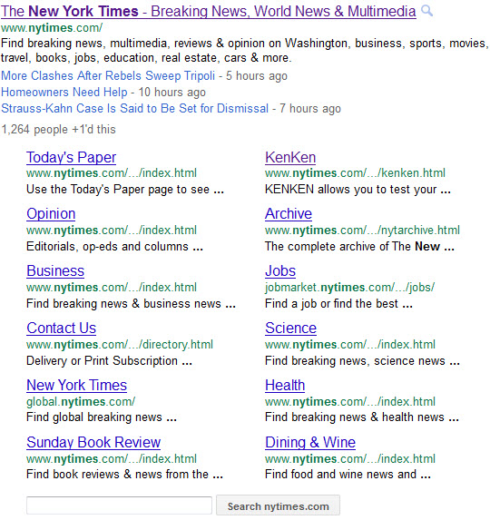 The New York Times - Google expanded sitelinks