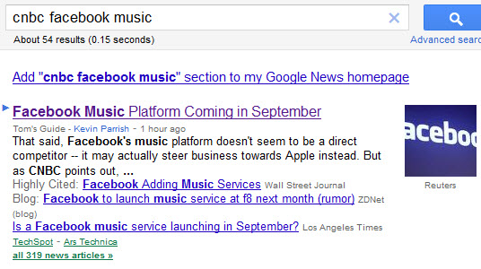 Google News CNBC Facebook music results