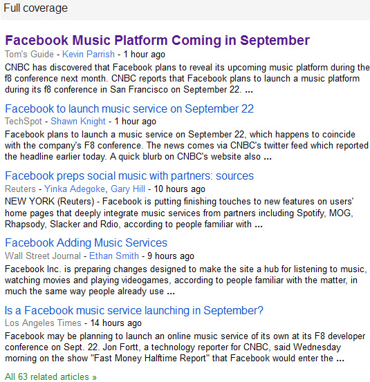Google News Facebook Music Full Coverage