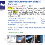 Google News Facebook Music story cluster