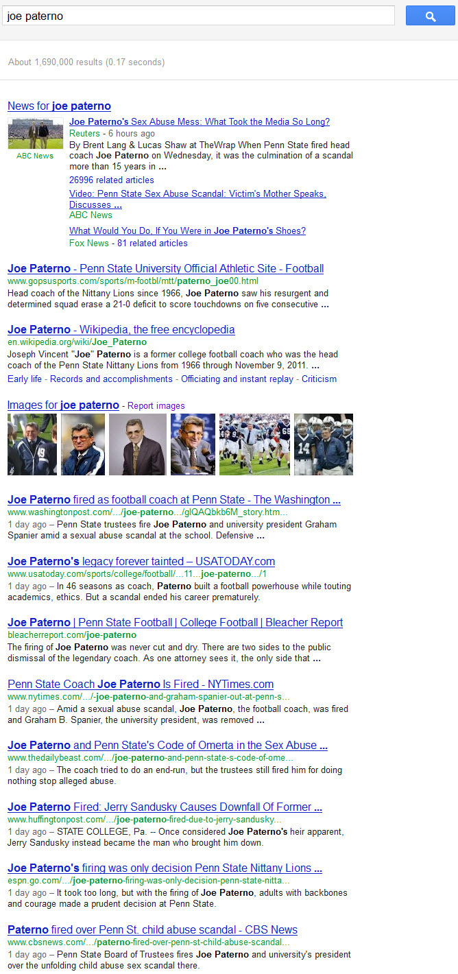 Joe Paterno - Google freshness results