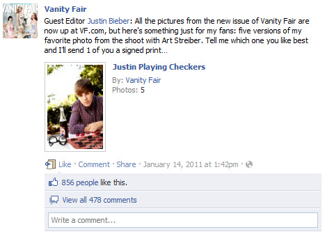 Justin Bieber photos - Vanity Fair Facebook page