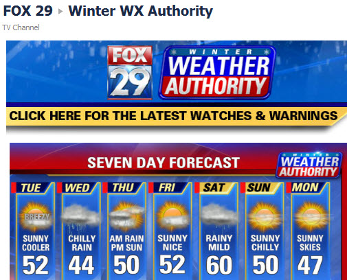 Fox 29 Facebook weather tab
