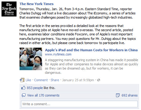 The New York Times Facebook chat promotion