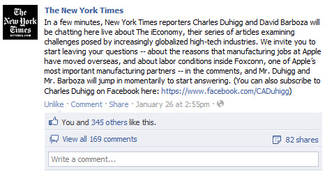 The New York Times Facebook chat
