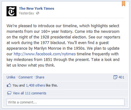 The New York Times - Facebook Timeline