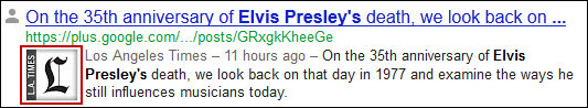 Google Plus listing in the SERPs for Elvis Presley