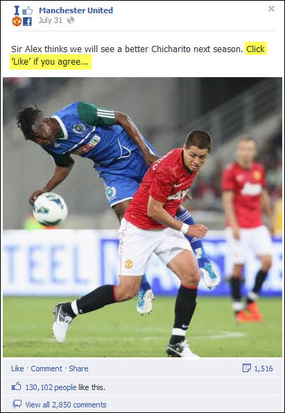 Manchester United - Chicharito Facebook post