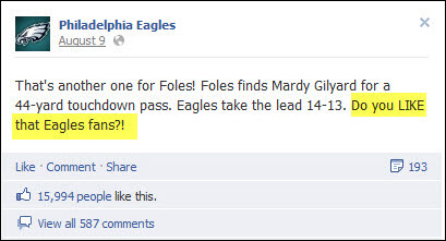 Philadelphia Eagles Facebook post