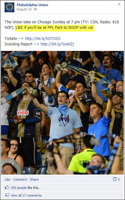 Philadelphia Union Facebook post