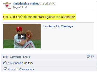 Philadelphia Phillies - Cliff Lee Facebook post