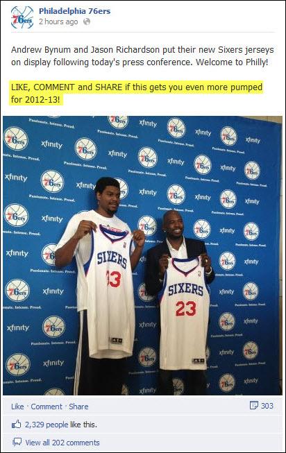 Philadelphia 76ers - Andrew Bynum Press Conference Facebook post