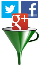 Twitter Facebook Google+ logos in funnel