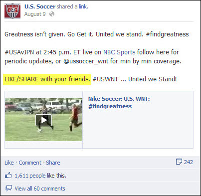 US Soccer Facebook post