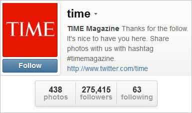 Time Magazine Instagram web profile