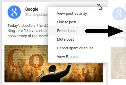 Google+ embedded posts